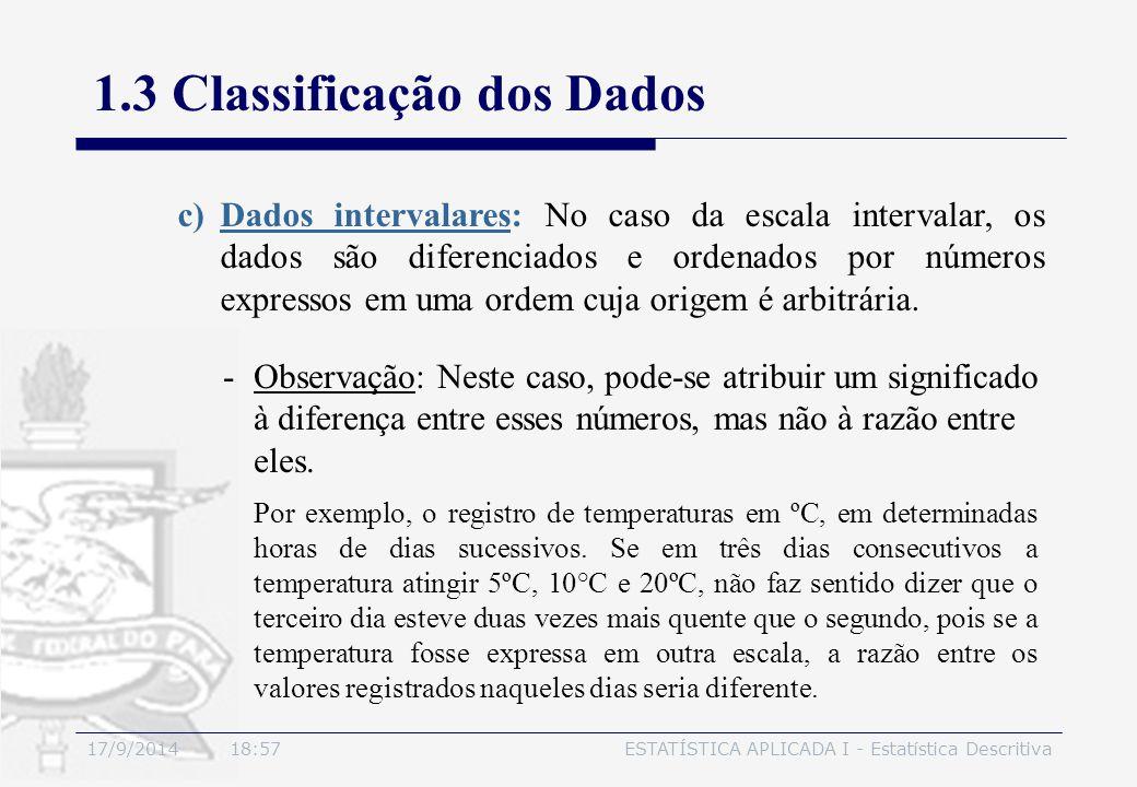 17/9/2014 19:00ESTATÍSTICA APLICADA I - Estatística Descritiva 1.3 Classificação dos Dados -Observação: Neste caso, pode-se atribuir um significado à