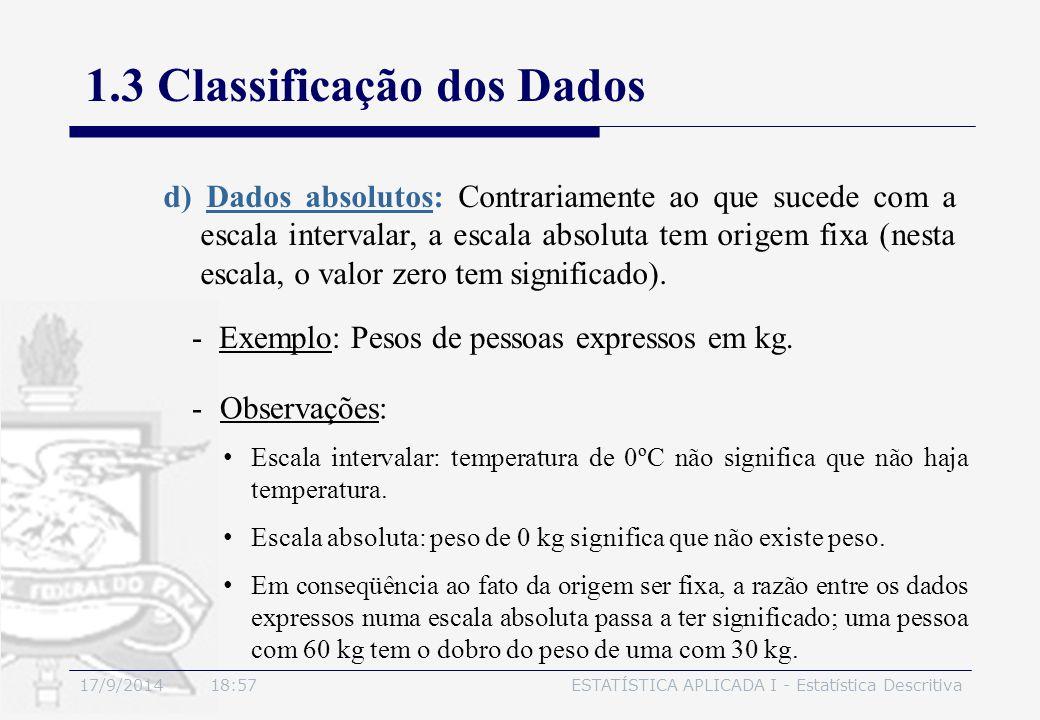 17/9/2014 19:00ESTATÍSTICA APLICADA I - Estatística Descritiva 1.3 Classificação dos Dados d) Dados absolutos: Contrariamente ao que sucede com a esca