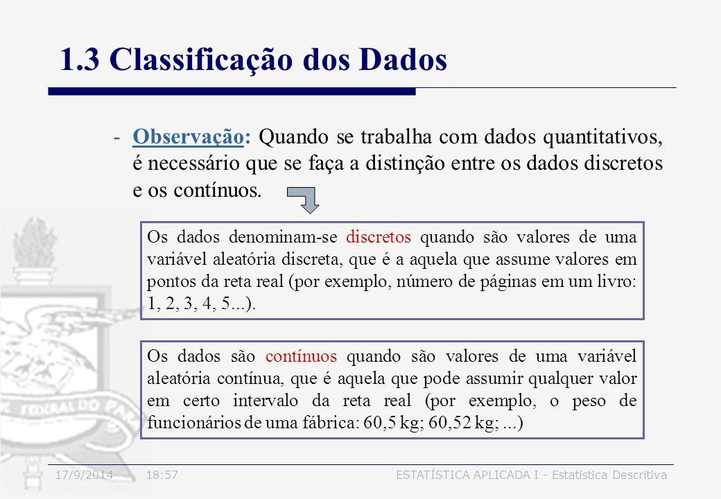 17/9/2014 19:00ESTATÍSTICA APLICADA I - Estatística Descritiva 1.3 Classificação dos Dados -Observação: Quando se trabalha com dados quantitativos, é