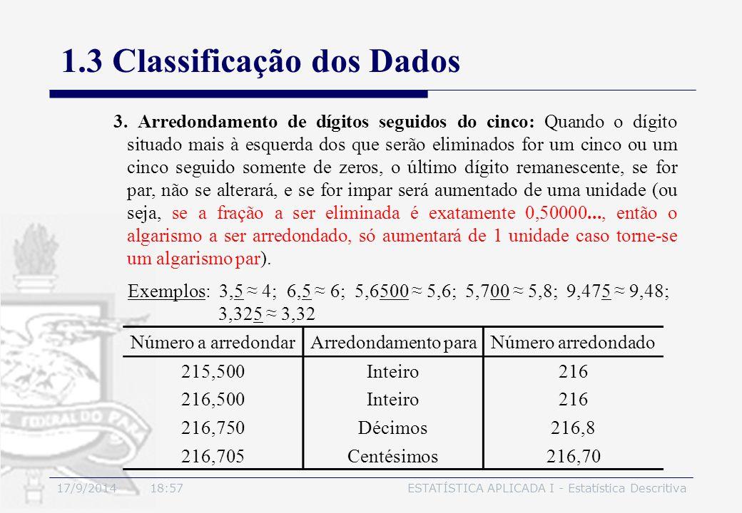 17/9/2014 19:00ESTATÍSTICA APLICADA I - Estatística Descritiva 1.3 Classificação dos Dados 3. Arredondamento de dígitos seguidos do cinco: Quando o dí