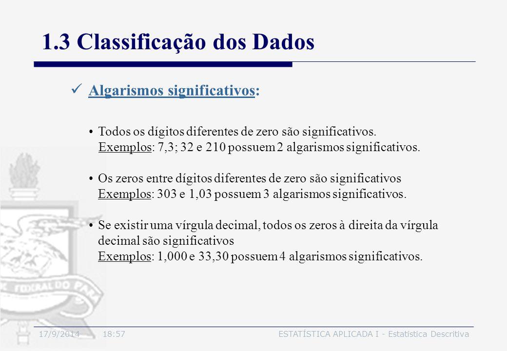 17/9/2014 19:00ESTATÍSTICA APLICADA I - Estatística Descritiva 1.3 Classificação dos Dados Algarismos significativos: Todos os dígitos diferentes de z