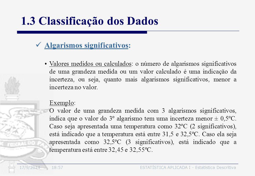 17/9/2014 19:00ESTATÍSTICA APLICADA I - Estatística Descritiva 1.3 Classificação dos Dados Algarismos significativos: Valores medidos ou calculados: o