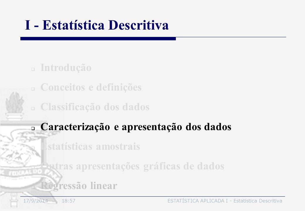 17/9/2014 19:00ESTATÍSTICA APLICADA I - Estatística Descritiva I - Estatística Descritiva  Introdução  Conceitos e definições  Classificação dos da