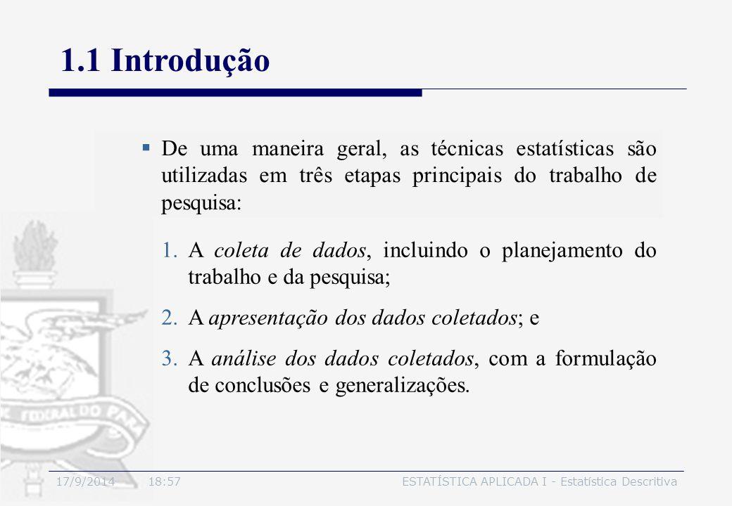 17/9/2014 19:00ESTATÍSTICA APLICADA I - Estatística Descritiva 1.1 Introdução  De uma maneira geral, as técnicas estatísticas são utilizadas em três
