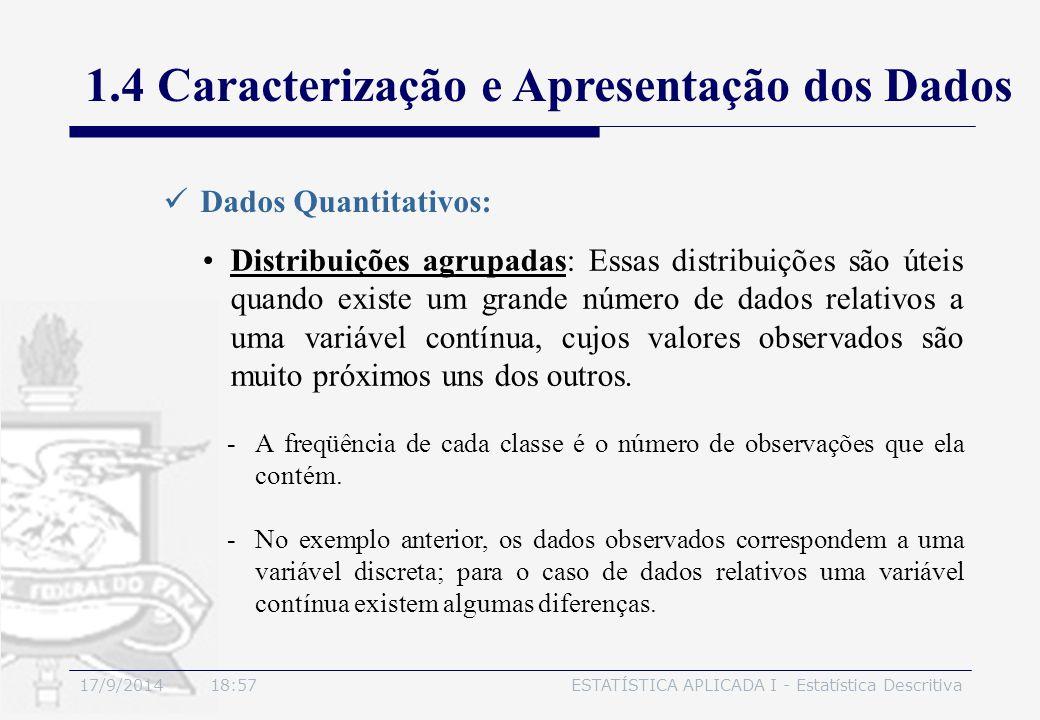 17/9/2014 19:00ESTATÍSTICA APLICADA I - Estatística Descritiva 1.4 Caracterização e Apresentação dos Dados Distribuições agrupadas: Essas distribuiçõe
