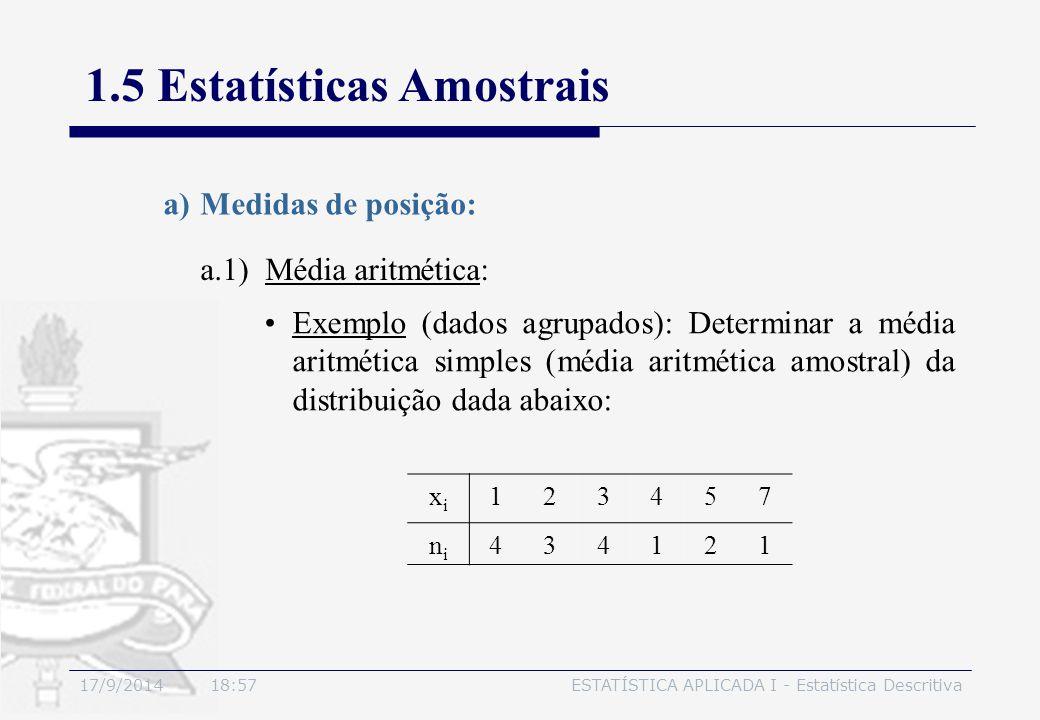 17/9/2014 19:00ESTATÍSTICA APLICADA I - Estatística Descritiva 1.5 Estatísticas Amostrais a.1) Média aritmética: a)Medidas de posição: Exemplo (dados