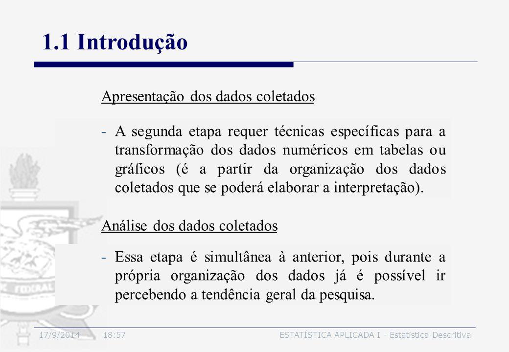 17/9/2014 19:00ESTATÍSTICA APLICADA I - Estatística Descritiva 1.1 Introdução -A segunda etapa requer técnicas específicas para a transformação dos da