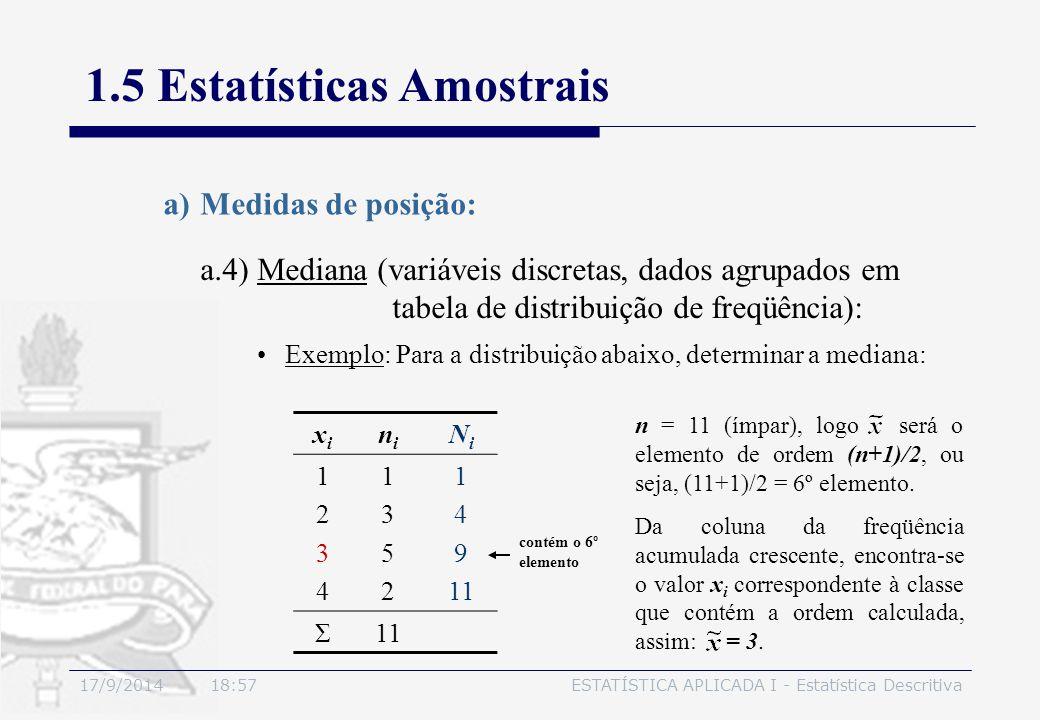 17/9/2014 19:00ESTATÍSTICA APLICADA I - Estatística Descritiva 1.5 Estatísticas Amostrais a.4) Mediana (variáveis discretas, dados agrupados em tabela