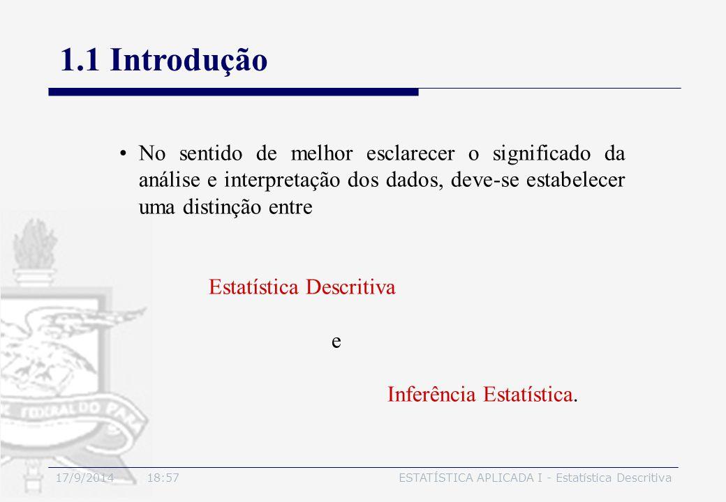17/9/2014 19:00ESTATÍSTICA APLICADA I - Estatística Descritiva 1.1 Introdução No sentido de melhor esclarecer o significado da análise e interpretação