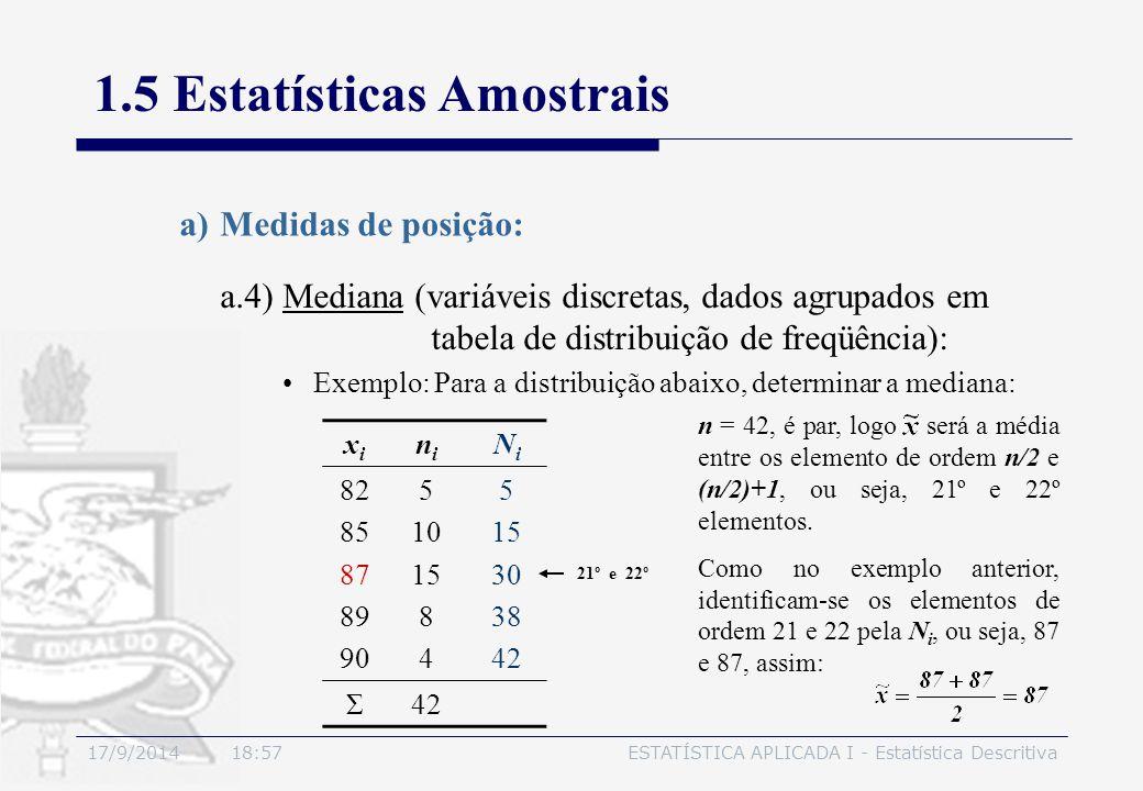 17/9/2014 19:00ESTATÍSTICA APLICADA I - Estatística Descritiva 1.5 Estatísticas Amostrais a)Medidas de posição: Exemplo: Para a distribuição abaixo, d