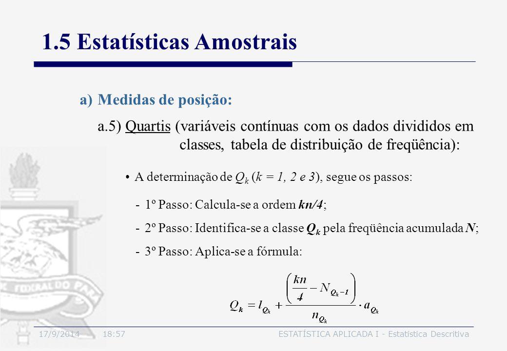 17/9/2014 19:00ESTATÍSTICA APLICADA I - Estatística Descritiva 1.5 Estatísticas Amostrais a)Medidas de posição: A determinação de Q k (k = 1, 2 e 3),