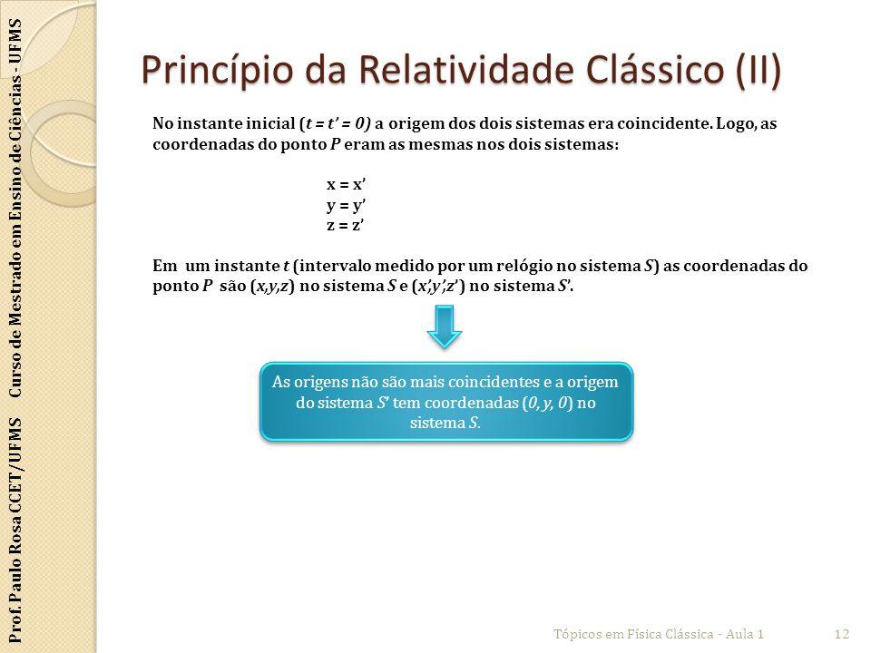 Prof. Paulo Rosa CCET/UFMS Curso de Mestrado em Ensino de Ciências - UFMS Princípio da Relatividade Clássico (II) Tópicos em Física Clássica - Aula 11