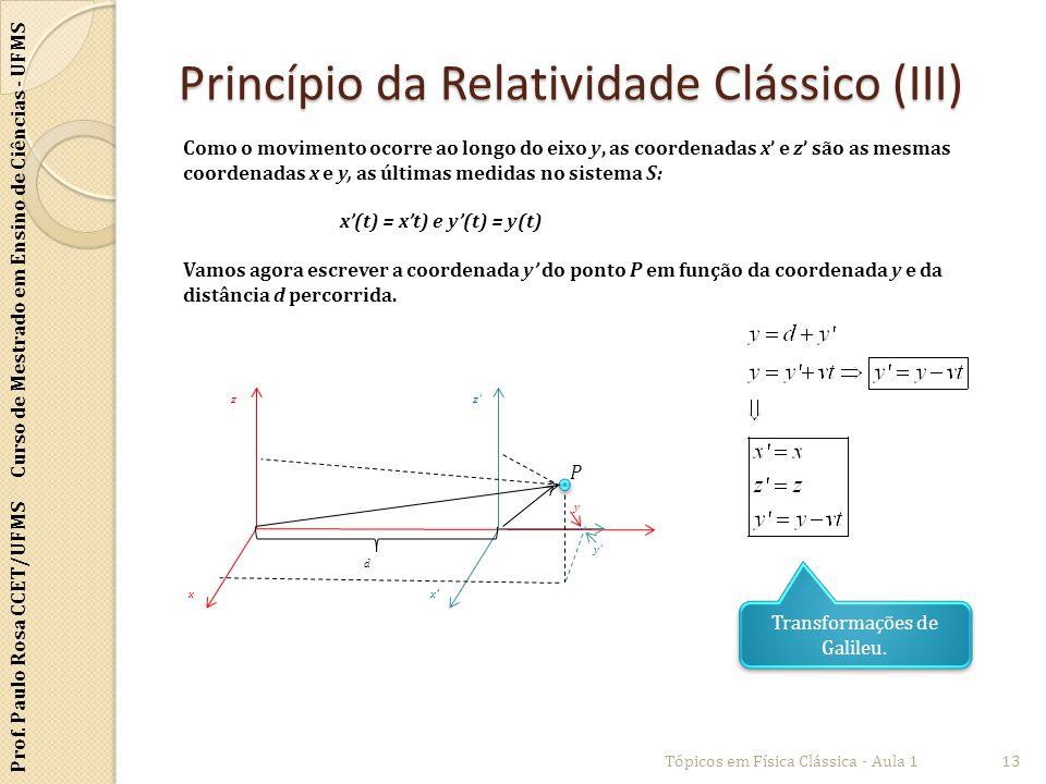 Prof. Paulo Rosa CCET/UFMS Curso de Mestrado em Ensino de Ciências - UFMS Princípio da Relatividade Clássico (III) Tópicos em Física Clássica - Aula 1