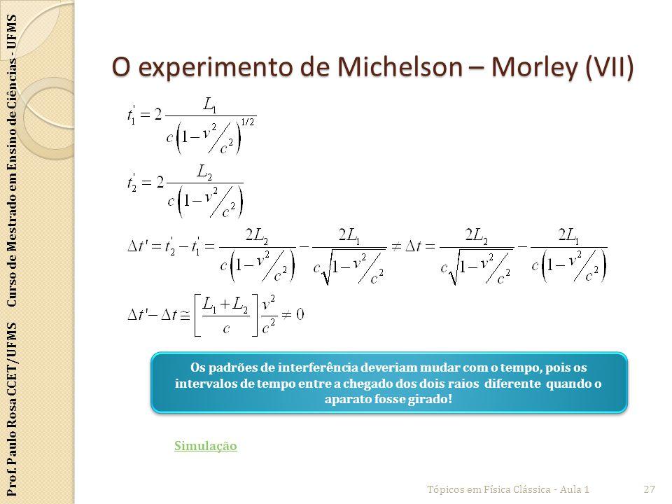 Prof. Paulo Rosa CCET/UFMS Curso de Mestrado em Ensino de Ciências - UFMS O experimento de Michelson – Morley (VII) Tópicos em Física Clássica - Aula