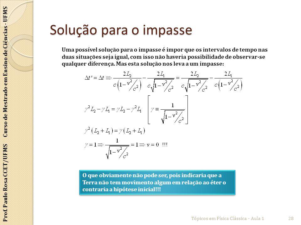 Prof. Paulo Rosa CCET/UFMS Curso de Mestrado em Ensino de Ciências - UFMS Solução para o impasse Tópicos em Física Clássica - Aula 128 Uma possível so