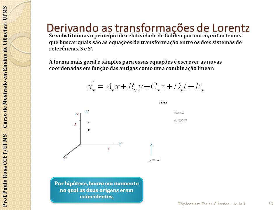 Prof. Paulo Rosa CCET/UFMS Curso de Mestrado em Ensino de Ciências - UFMS Derivando as transformações de Lorentz Tópicos em Física Clássica - Aula 133