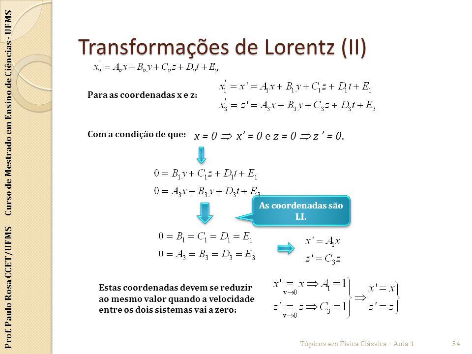 Prof. Paulo Rosa CCET/UFMS Curso de Mestrado em Ensino de Ciências - UFMS Transformações de Lorentz (II) Tópicos em Física Clássica - Aula 134 Para as