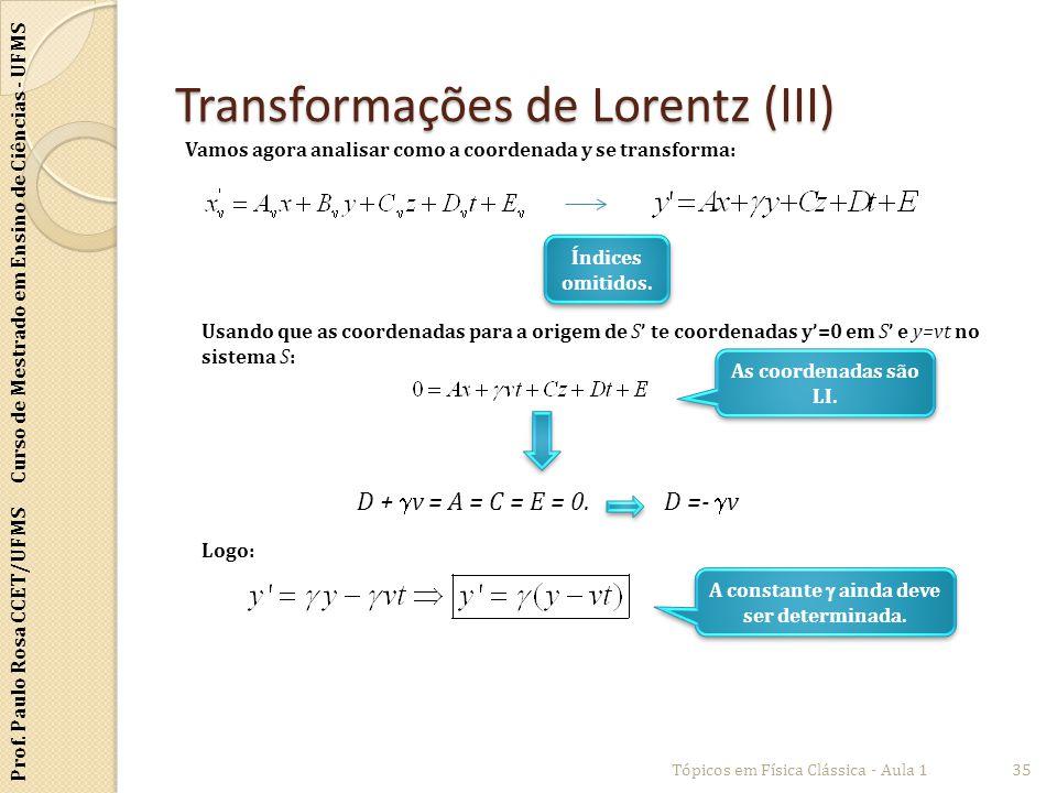 Prof. Paulo Rosa CCET/UFMS Curso de Mestrado em Ensino de Ciências - UFMS Transformações de Lorentz (III) Tópicos em Física Clássica - Aula 135 Vamos