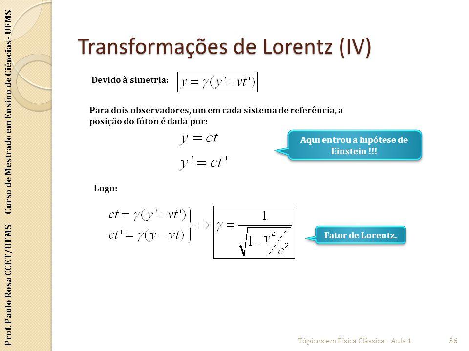 Prof. Paulo Rosa CCET/UFMS Curso de Mestrado em Ensino de Ciências - UFMS Transformações de Lorentz (IV) Tópicos em Física Clássica - Aula 136 Devido