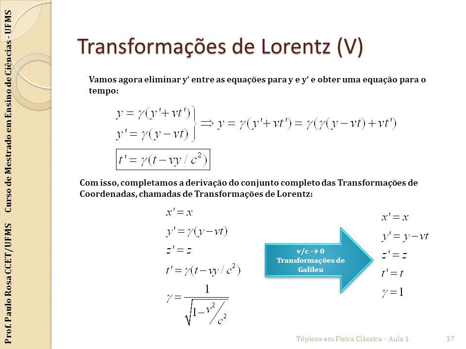 Prof. Paulo Rosa CCET/UFMS Curso de Mestrado em Ensino de Ciências - UFMS Transformações de Lorentz (V) Tópicos em Física Clássica - Aula 137 Vamos ag