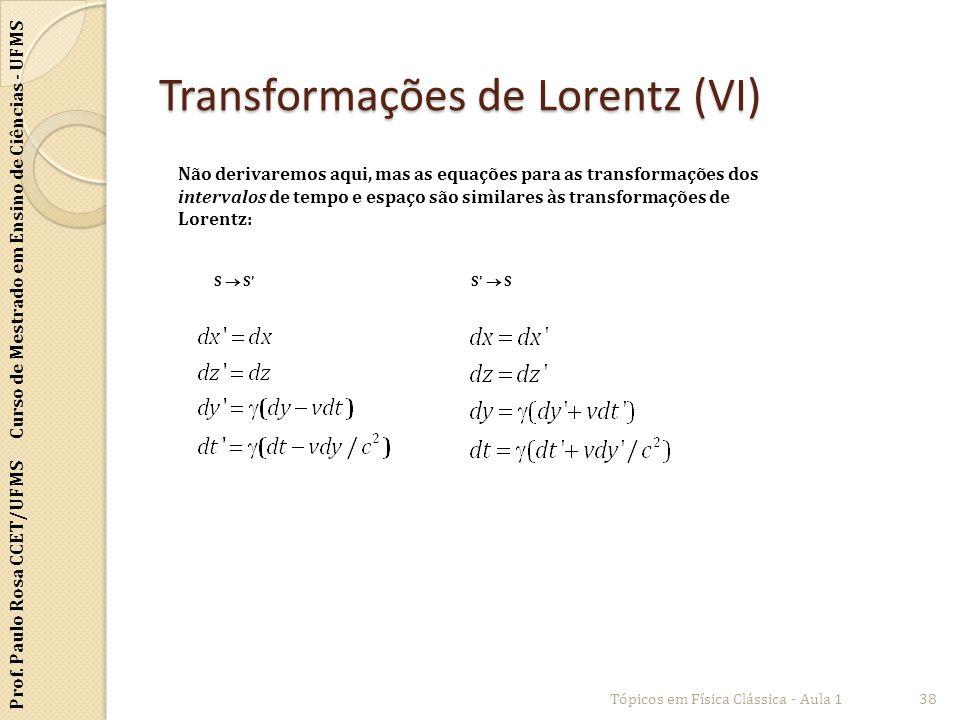 Prof. Paulo Rosa CCET/UFMS Curso de Mestrado em Ensino de Ciências - UFMS Transformações de Lorentz (VI) Tópicos em Física Clássica - Aula 138 Não der