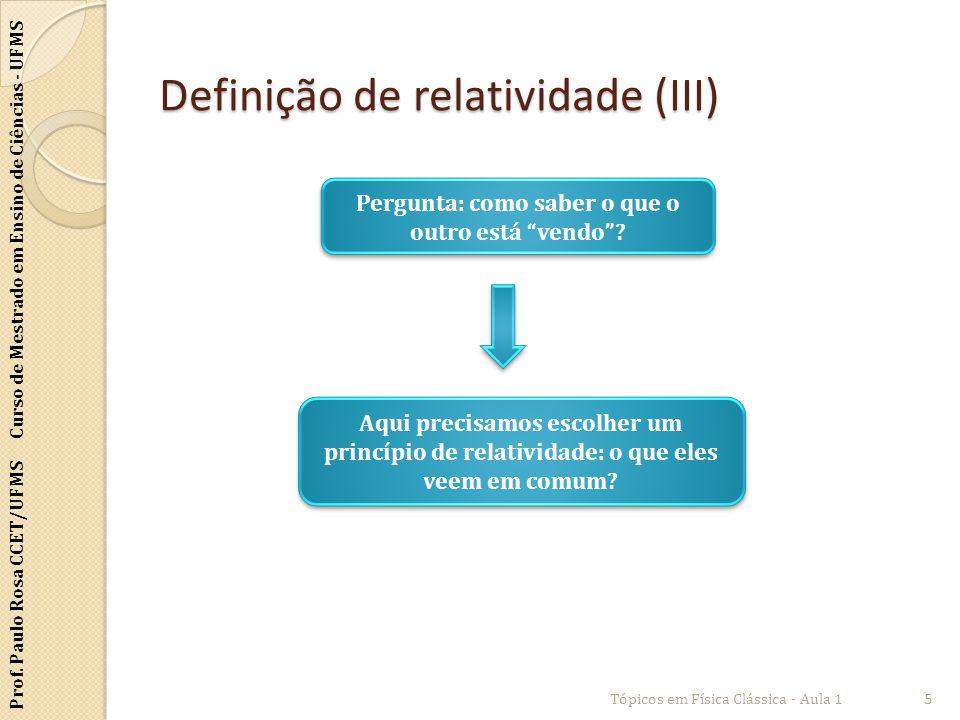 Prof. Paulo Rosa CCET/UFMS Curso de Mestrado em Ensino de Ciências - UFMS Definição de relatividade (III) Tópicos em Física Clássica - Aula 15 Pergunt