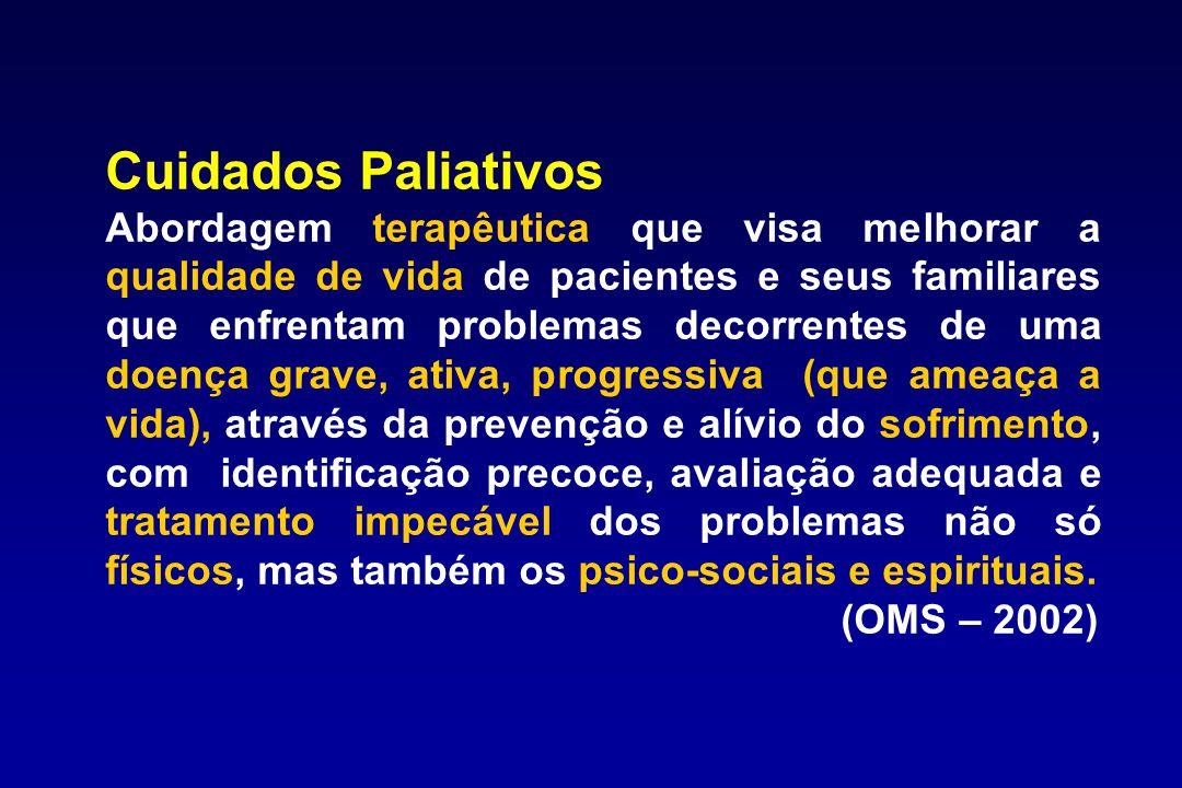 Cuidados Paliativos Abordagem terapêutica que visa melhorar a qualidade de vida de pacientes e seus familiares que enfrentam problemas decorrentes de