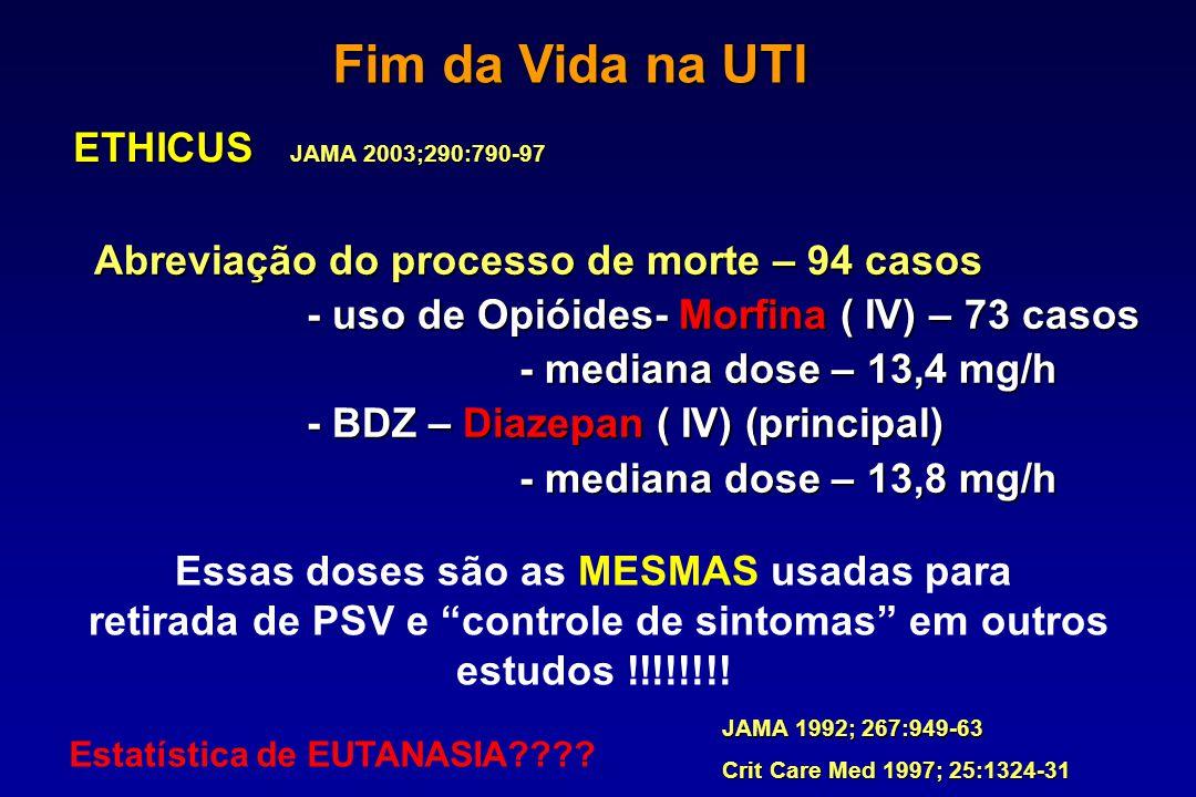 ETHICUS Abreviação do processo de morte – 94 casos - uso de Opióides- Morfina ( IV) – 73 casos - mediana dose – 13,4 mg/h - BDZ – Diazepan ( IV) (prin