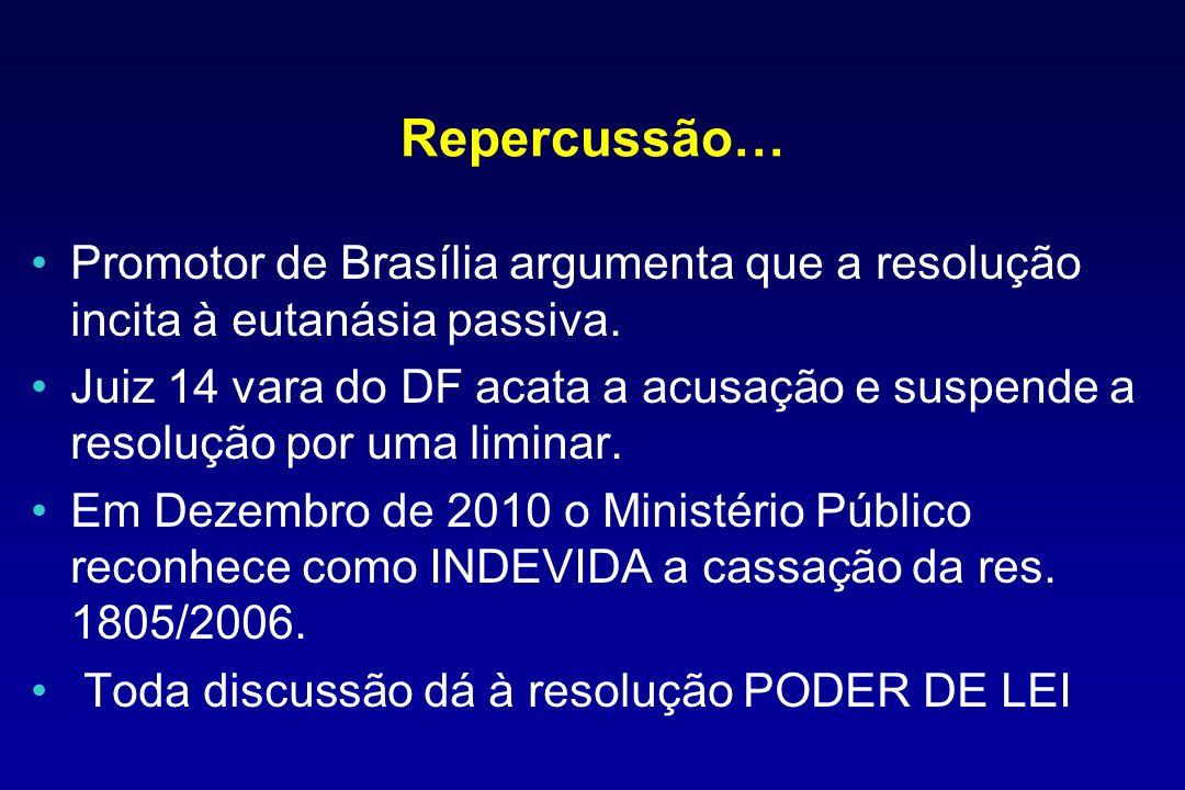 Repercussão… Promotor de Brasília argumenta que a resolução incita à eutanásia passiva. Juiz 14 vara do DF acata a acusação e suspende a resolução por