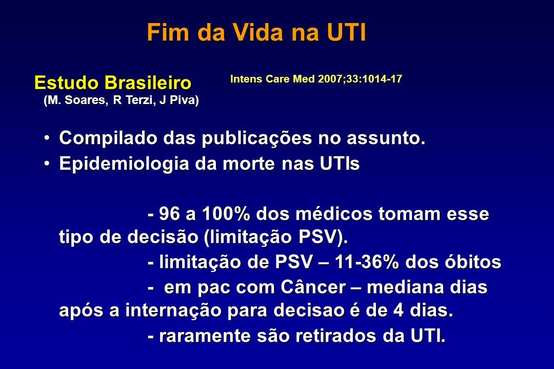 Estudo Brasileiro (M. Soares, R Terzi, J Piva) Compilado das publicações no assunto.Compilado das publicações no assunto. Epidemiologia da morte nas U