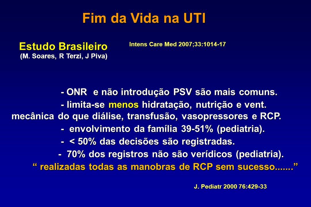 Estudo Brasileiro (M. Soares, R Terzi, J Piva) (M. Soares, R Terzi, J Piva) - ONR e não introdução PSV são mais comuns. - ONR e não introdução PSV são