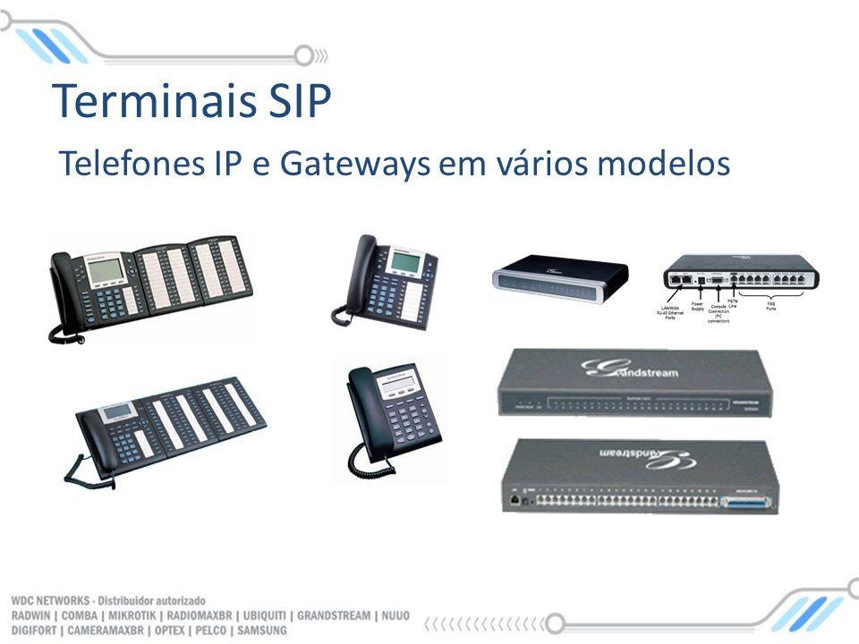 Telefones IP e Gateways em vários modelos Terminais SIP