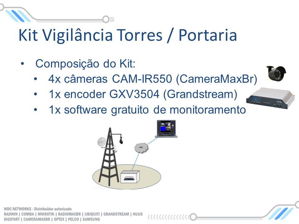 Composição do Kit: 4x câmeras CAM-IR550 (CameraMaxBr) 1x encoder GXV3504 (Grandstream) 1x software gratuito de monitoramento Kit Vigilância Torres / P