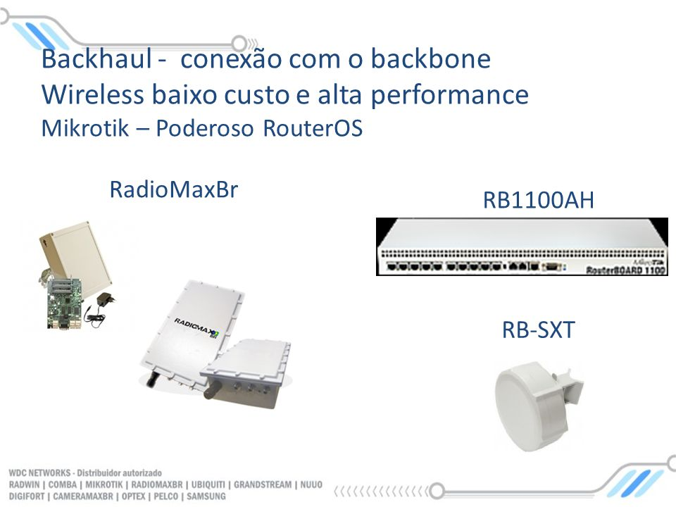 Backhaul - conexão com o backbone Wireless baixo custo e alta performance Mikrotik – Poderoso RouterOS RB1100AH RadioMaxBr RB-SXT