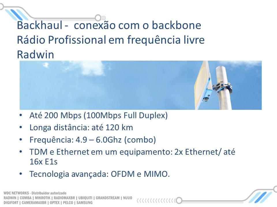 Até 200 Mbps (100Mbps Full Duplex) Longa distância: até 120 km Frequência: 4.9 – 6.0Ghz (combo) TDM e Ethernet em um equipamento: 2x Ethernet/ até 16x