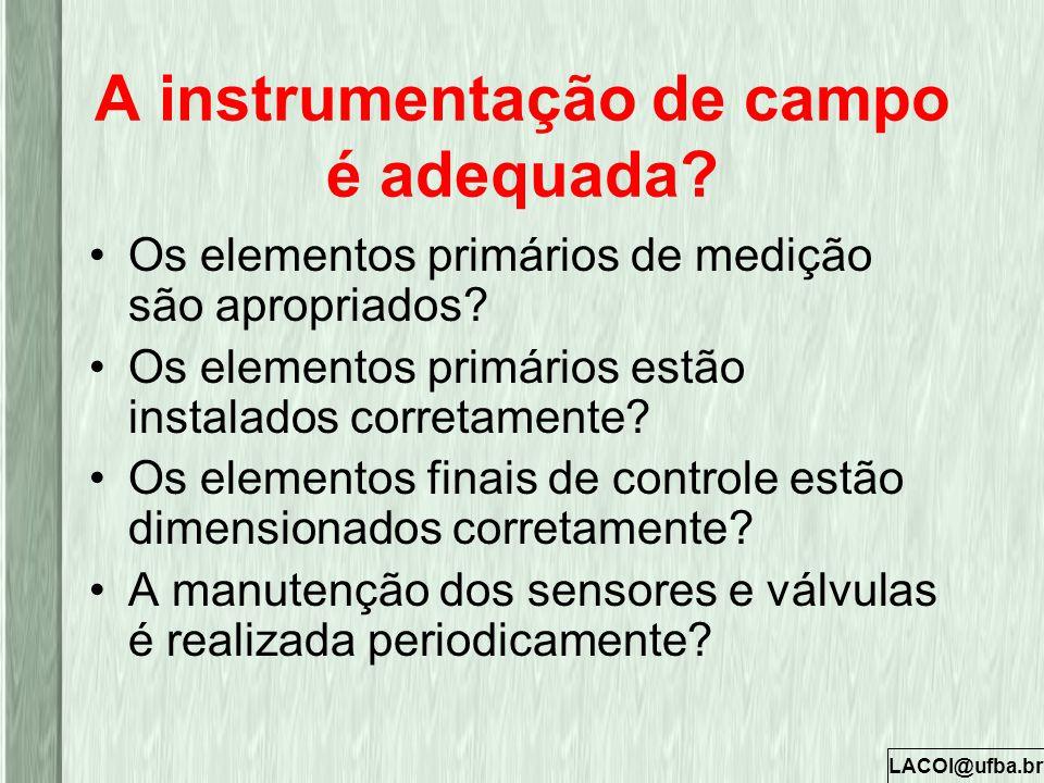 LACOI@ufba.br A instrumentação de campo é adequada? Os elementos primários de medição são apropriados? Os elementos primários estão instalados correta