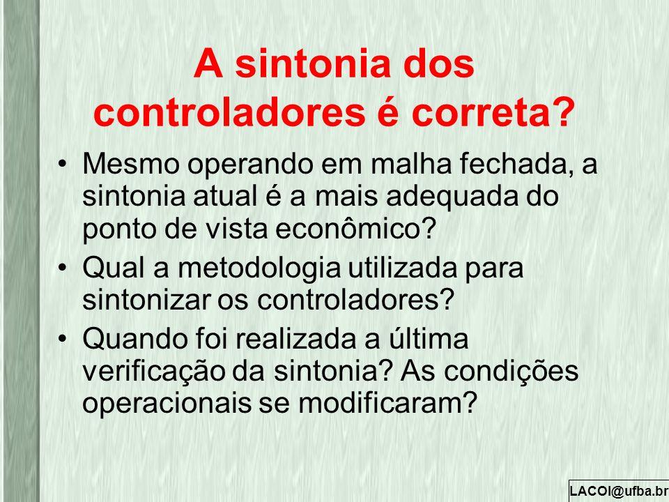 LACOI@ufba.br A sintonia dos controladores é correta? Mesmo operando em malha fechada, a sintonia atual é a mais adequada do ponto de vista econômico?