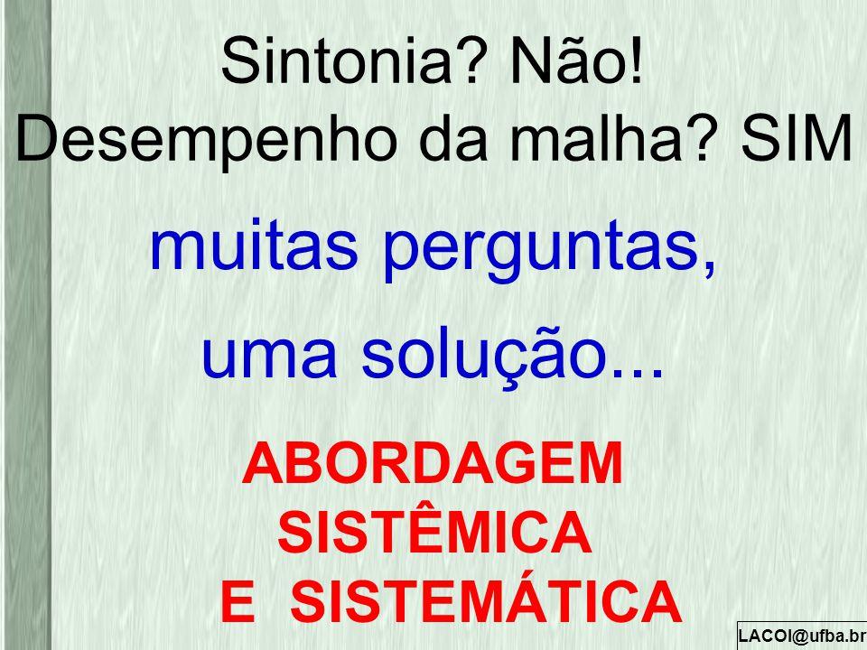 LACOI@ufba.br Sintonia? Não! Desempenho da malha? SIM muitas perguntas, uma solução... ABORDAGEM SISTÊMICA E SISTEMÁTICA