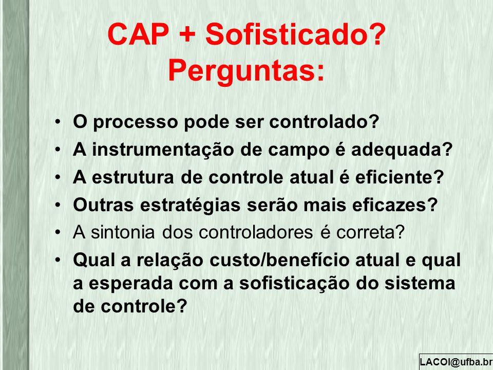 LACOI@ufba.br CAP + Sofisticado? Perguntas: O processo pode ser controlado? A instrumentação de campo é adequada? A estrutura de controle atual é efic