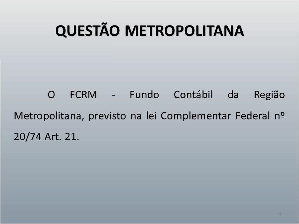 QUESTÃO METROPOLITANA 4 O FCRM - Fundo Contábil da Região Metropolitana, previsto na lei Complementar Federal nº 20/74 Art. 21.
