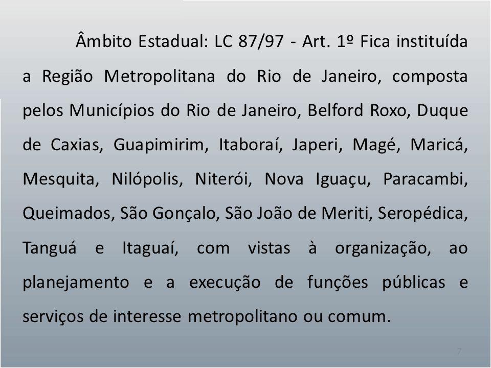 7 Âmbito Estadual: LC 87/97 - Art. 1º Fica instituída a Região Metropolitana do Rio de Janeiro, composta pelos Municípios do Rio de Janeiro, Belford R
