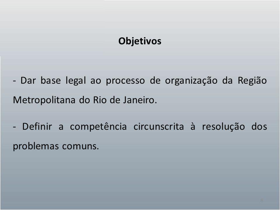 8 Objetivos - Dar base legal ao processo de organização da Região Metropolitana do Rio de Janeiro. - Definir a competência circunscrita à resolução do