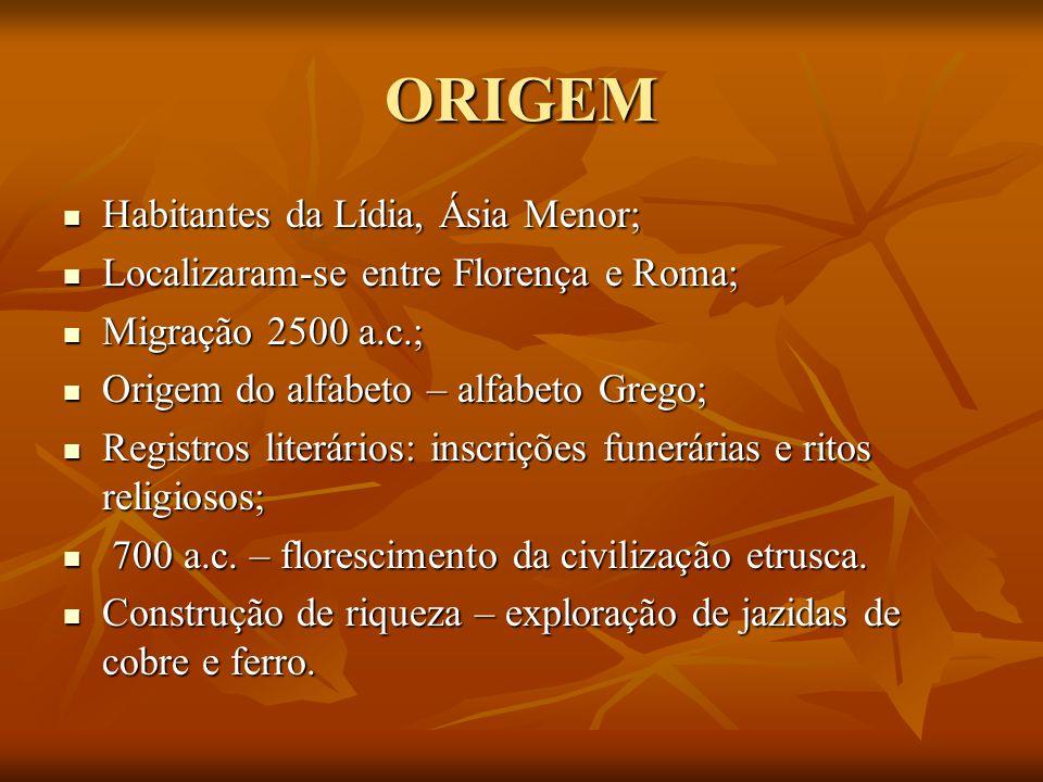 ORIGEM Habitantes da Lídia, Ásia Menor; Habitantes da Lídia, Ásia Menor; Localizaram-se entre Florença e Roma; Localizaram-se entre Florença e Roma; M