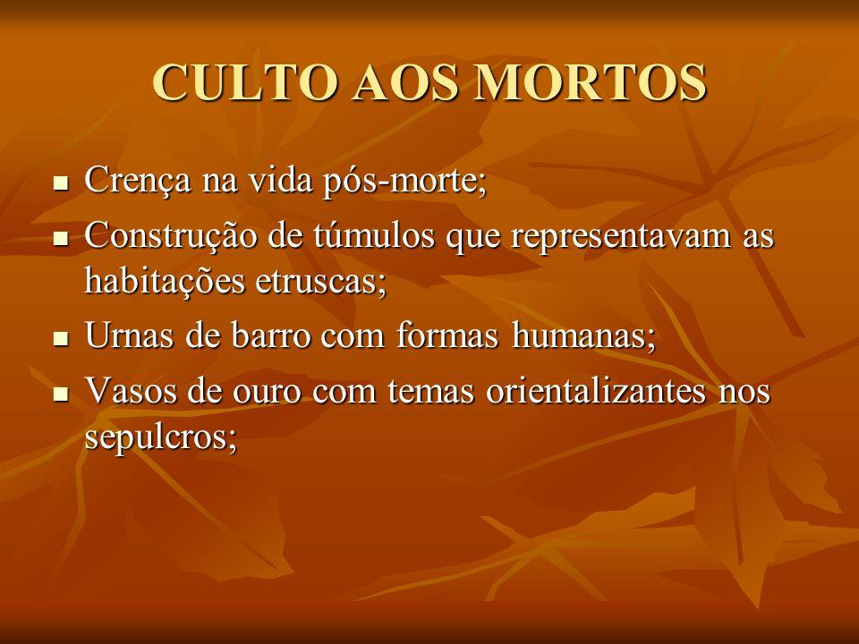 CULTO AOS MORTOS Crença na vida pós-morte; Crença na vida pós-morte; Construção de túmulos que representavam as habitações etruscas; Construção de túm