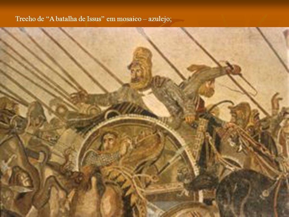 """Trecho de """"A batalha de Issus"""" em mosaico – azulejo;"""