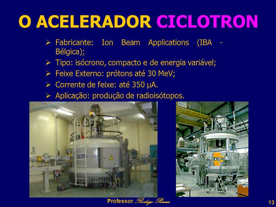 13 Professor Rodrigo Penna O ACELERADOR CICLOTRON  Fabricante: Ion Beam Applications (IBA - Bélgica);  Tipo: isócrono, compacto e de energia variável;  Feixe Externo: prótons até 30 MeV;  Corrente de feixe: até 350 µA.