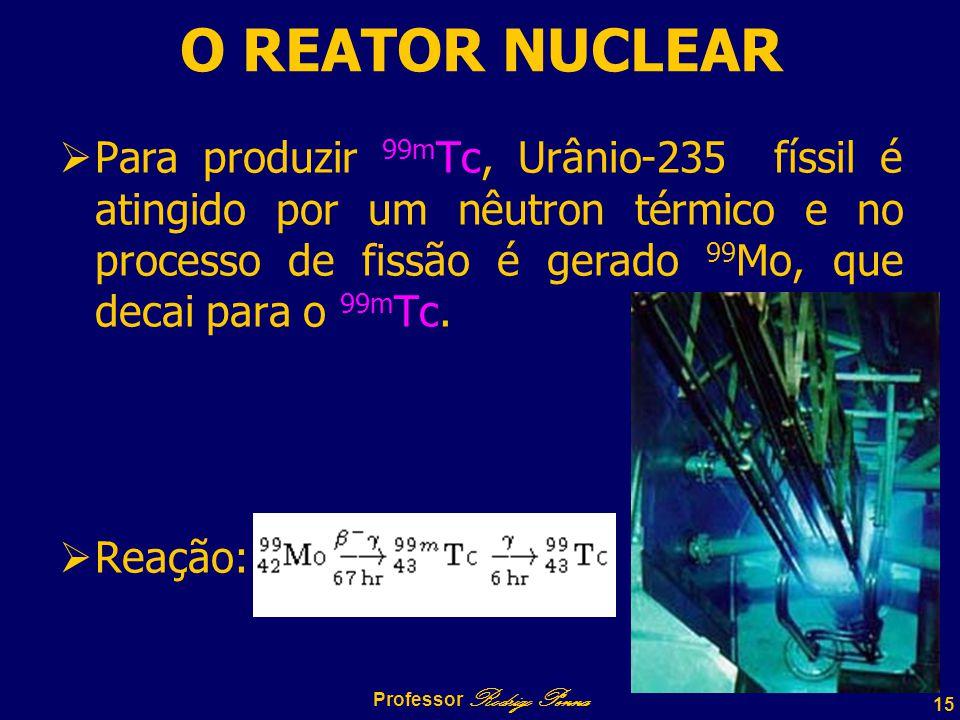 15 Professor Rodrigo Penna O REATOR NUCLEAR  Para produzir 99m Tc, Urânio-235 físsil é atingido por um nêutron térmico e no processo de fissão é gerado 99 Mo, que decai para o 99m Tc.