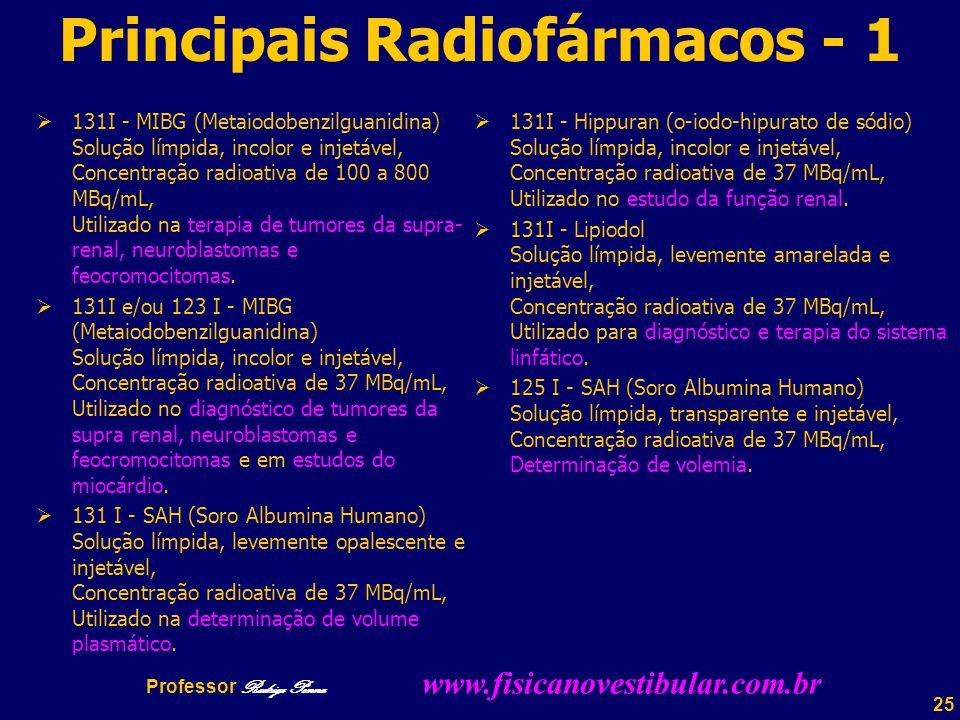 25 Principais Radiofármacos - 1  131I - MIBG (Metaiodobenzilguanidina) Solução límpida, incolor e injetável, Concentração radioativa de 100 a 800 MBq/mL, Utilizado na terapia de tumores da supra- renal, neuroblastomas e feocromocitomas.