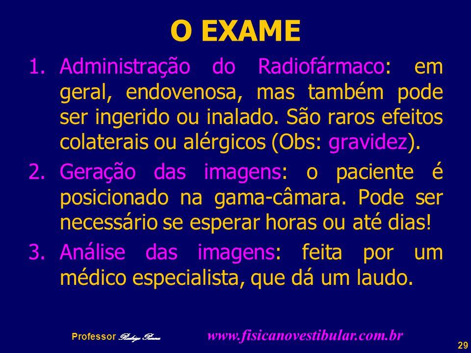 29 O EXAME 1.Administração do Radiofármaco: em geral, endovenosa, mas também pode ser ingerido ou inalado.
