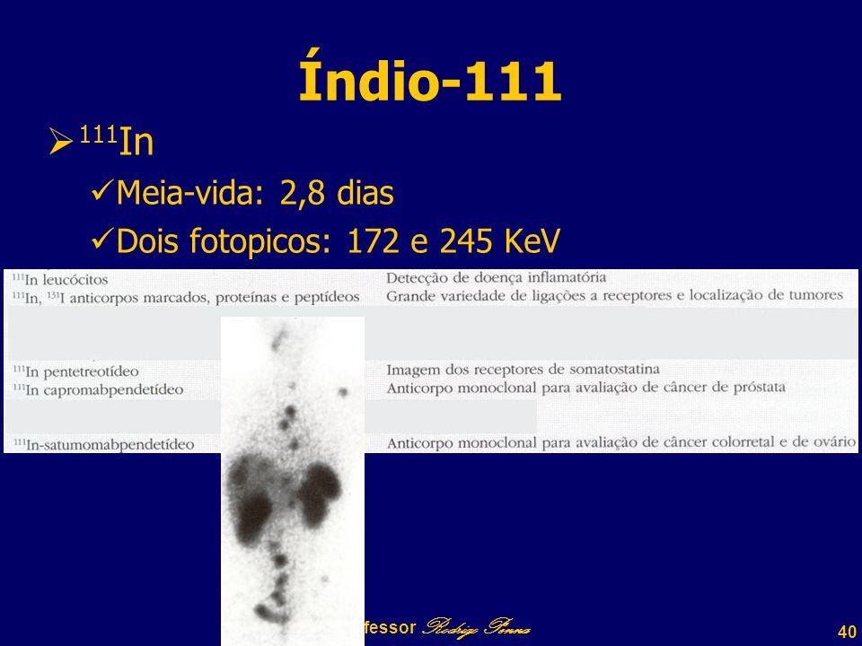 40 Professor Rodrigo Penna Índio-111  111 In Meia-vida: 2,8 dias Dois fotopicos: 172 e 245 KeV